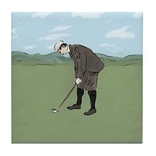 Vintage Style Golfer putting Tile Coaster