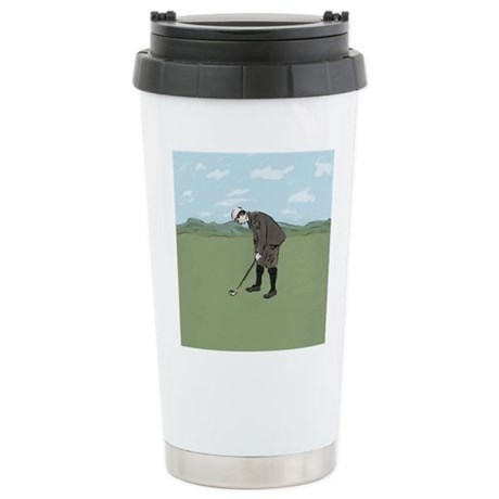 Vintage Style Golfer putting Travel Mug