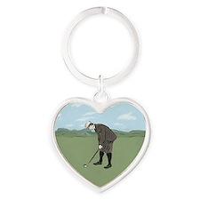 Vintage Style Golfer putting Heart Keychain