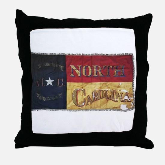 NC Flag Faded Throw Pillow