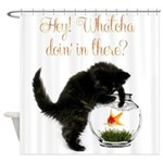 Cute Black Kitten Shower Curtain
