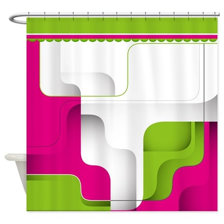 pink and green geometric shower curtain by getyergoat