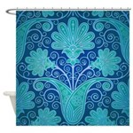 Teal Damask Flowers Shower Curtain
