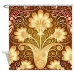 Beautiful Gold Floral Shower Curtain