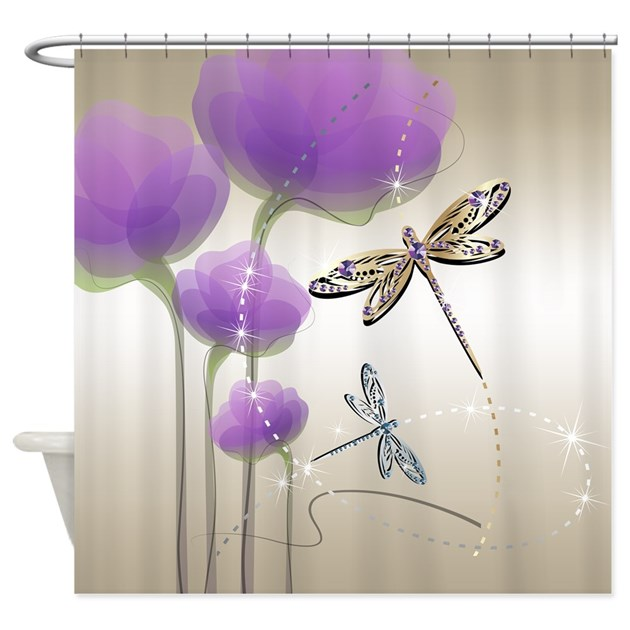 dragonflies and purple flowers shower curtain by getyergoat