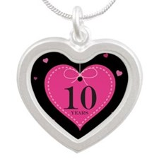 10th Anniversary Heart Gift Silver Heart Necklace