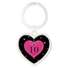 10th Anniversary Heart Gift Heart Keychain