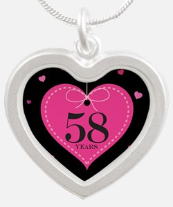 58th Anniversary Heart Silver Heart Necklace