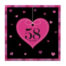 58th Anniversary Heart Tile Coaster
