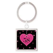 58th Anniversary Heart Square Keychain
