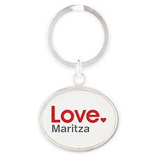 Love Maritza Oval Keychain
