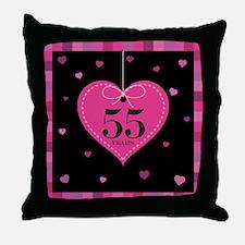 55th Anniversary Heart Throw Pillow