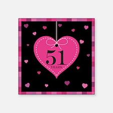 "51st Anniversary Heart Square Sticker 3"" x 3"""