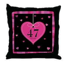 47th Anniversary Heart Throw Pillow