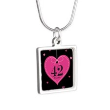 42nd Anniversary Heart Silver Square Necklace