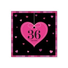 """36th Anniversary Heart Square Sticker 3"""" x 3"""""""