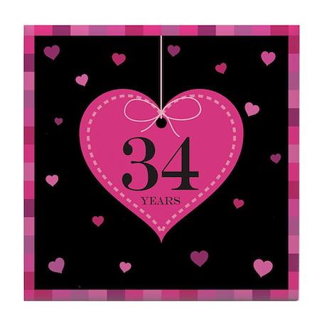 34th Anniversary Heart Tile Coaster