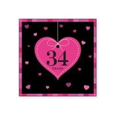 "34th Anniversary Heart Square Sticker 3"" x 3"""