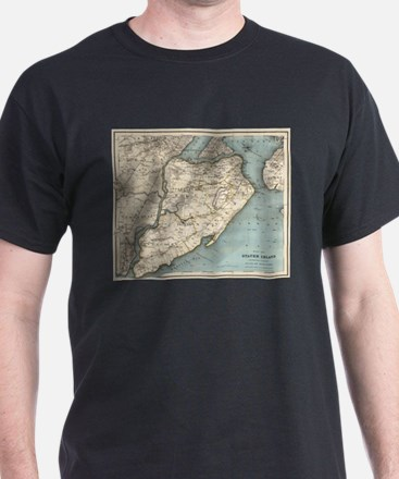 Vintage Map of Staten Island NY (1896) T-Shirt