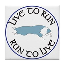 Blue BC Run To Live Logo Tile Coaster