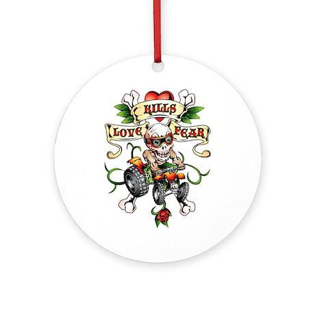 Love Kills Fear Skully Quad Ornament (Round)