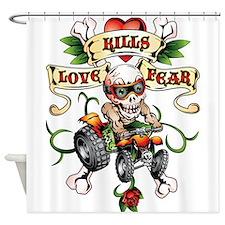 Love Kills Fear Skully Quad Shower Curtain
