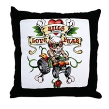 Love Kills Fear Skully Quad Throw Pillow