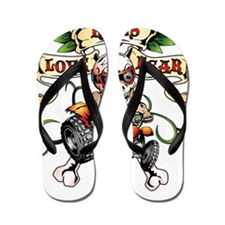 Love Kills Fear Skully Quad Flip Flops