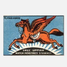 Antique India Flying Horse Matchbox Label Postcard