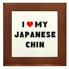i luv my japanese chin Framed Tile