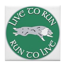 Blue Merle BC Live To Run Logo Tile Coaster