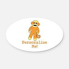 Orange Sock Monkey Oval Car Magnet