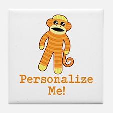Orange Sock Monkey Tile Coaster
