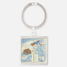 Fiji Map Square Keychain