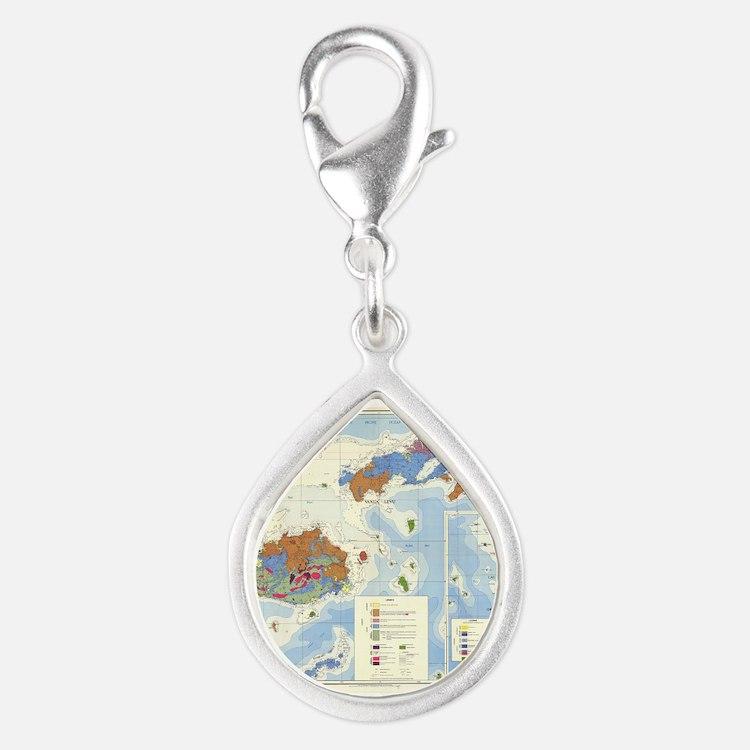 Fiji Map Silver Teardrop Charm