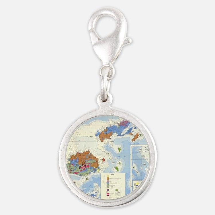 Fiji Map Silver Round Charm