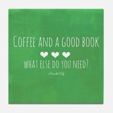 Coffee and Good Book Tile Coaster
