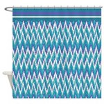 iKat ZigZag Purple Turquoise Shower Curtain