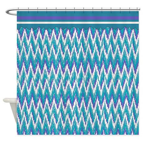 Purple ikat shower curtain - Ikat Zigzag Purple Turquoise Shower Curtain By Getyergoat