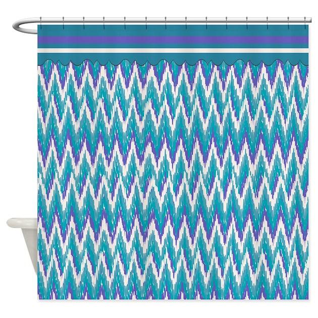 IKat ZigZag Purple Turquoise Shower Curtain By Getyergoat