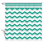 Trendy Emerald Chevron Shower Curtain