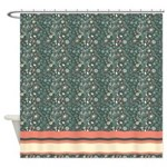 Dark Green Floral Pattern Shower Curtain