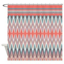 Coral iKat ZigZag Shower Curtain