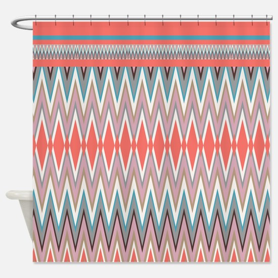 Coral iKat ZigZag Shower CurtainCoral Turquoise Chevron Shower Curtains   CafePress. Turquoise Chevron Shower Curtain. Home Design Ideas