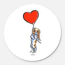 CKCS Blenheim Heart Round Car Magnet