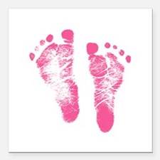 "Baby Girl Footprints Square Car Magnet 3"" x 3"""