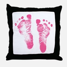 Baby Girl Footprints Throw Pillow