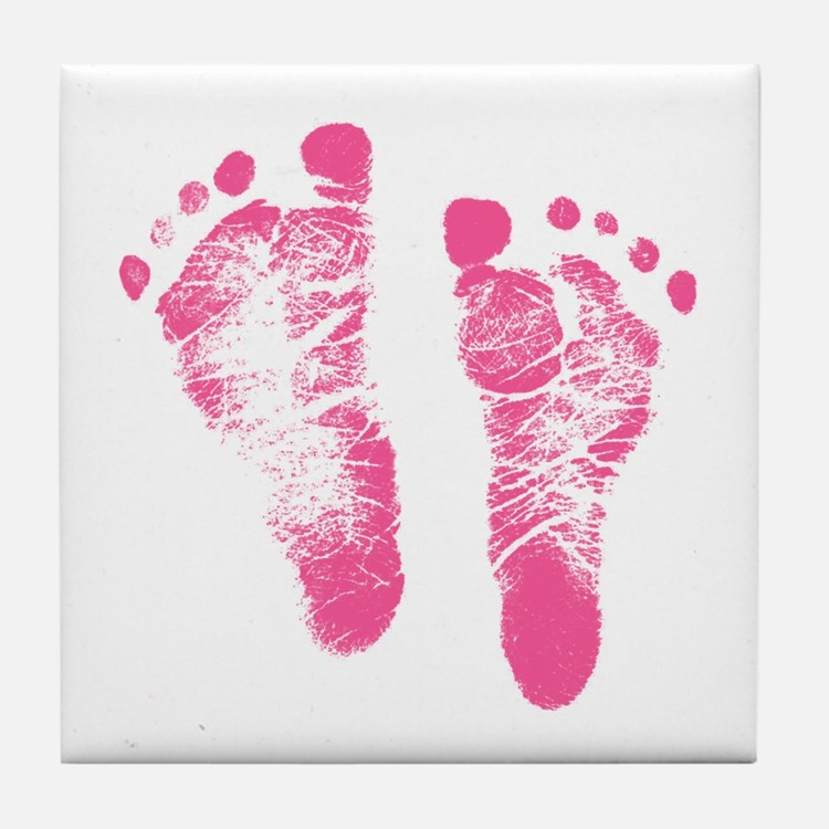 Baby Girl Footprints Tile Coaster