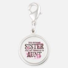 Promoted Aunt Silver Round Charm