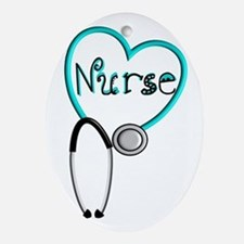 Nurse BLUE STETHO Ornament (Oval)